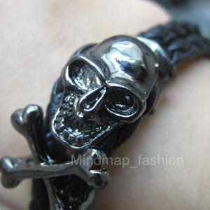 2-Row Weave Wrap Leather Skull Head..
