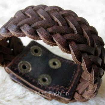 Fashion Weave Wrap Leather Snap Bracelet Wristband Bangle Wide Cuff Adjustable