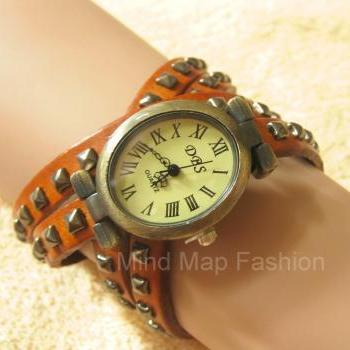 W59 Women Fashion Square Rivet Brown Leather Bracelet & Oval Wrist Watch